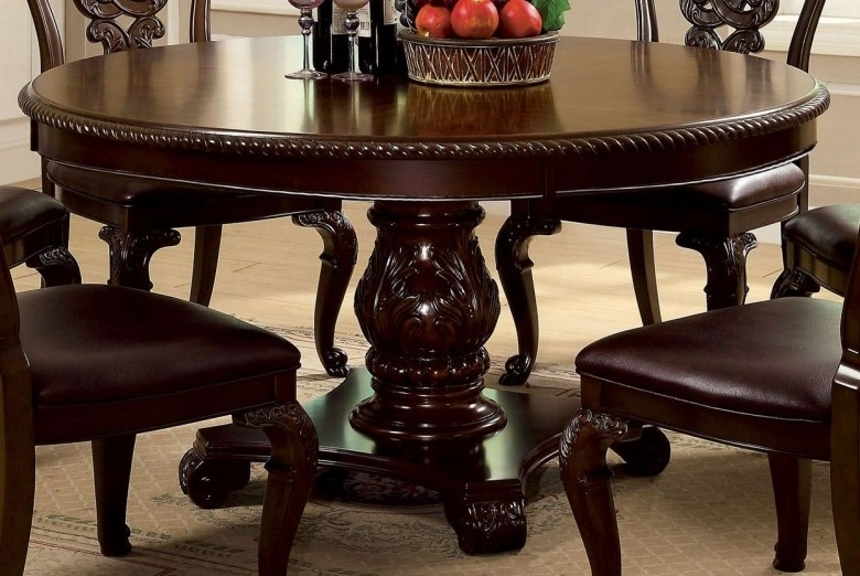 Furniture Of America Bellagio Brown Cherry Round Pedestal Dining With Regard To Bellagio Dining Tables (Image 24 of 25)