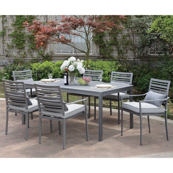 Furniture Of America Benson Contemporary Grey Outdoor Patio Table For Benson Rectangle Dining Tables (Image 16 of 25)