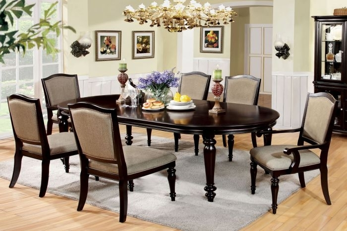 Furniture Of America Cm3970T Cm3970Ac Cm3970Sc Harrington 7 Pieces Within Walnut Dining Table Sets (View 6 of 25)