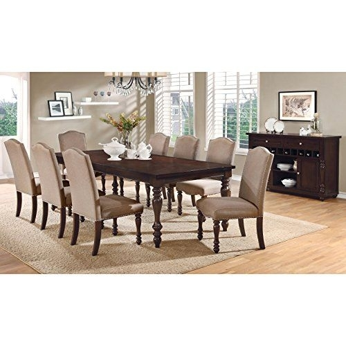 Furniture Of America Edella Classic 9Piece Antique Cherry Dining Set Within Chapleau Ii 9 Piece Extension Dining Tables With Side Chairs (View 6 of 25)
