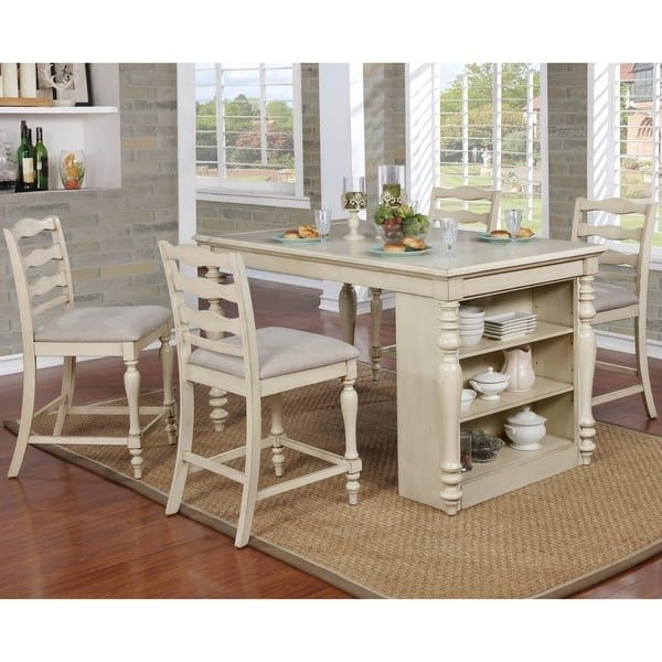 Furniture Of America Jeanine Antique White Farmhouse Kitchen Island For Lassen 7 Piece Extension Rectangle Dining Sets (View 3 of 25)