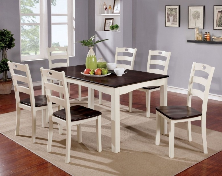 Furniture Of America Liliana 7 Piece White And Walnut Dining Table Intended For Walnut Dining Table Sets (Image 12 of 25)