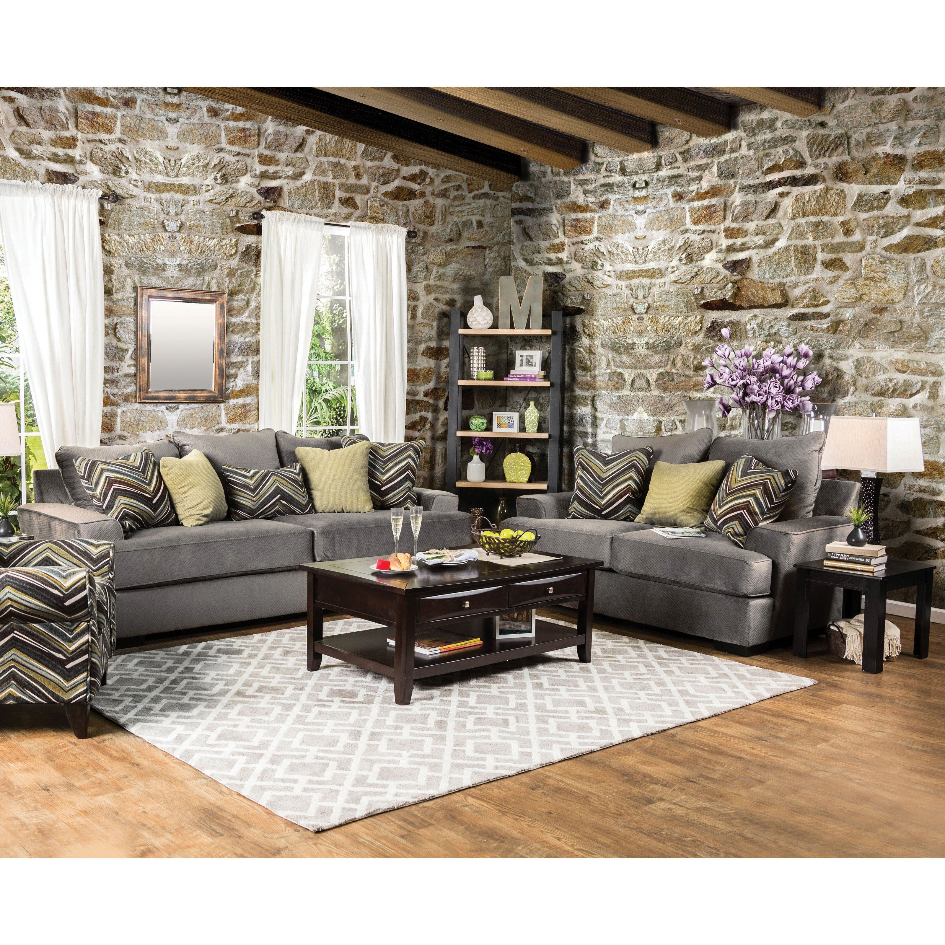 Furniture Of America Marius Simple Living 2 Piece Sofa Set – Idf Throughout Marius Dark Grey 3 Piece Sectionals (View 18 of 25)