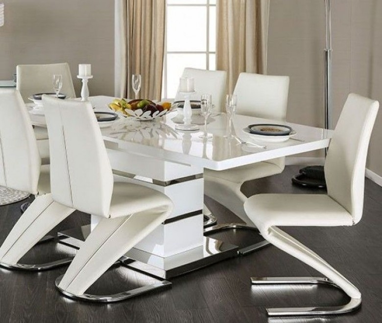 Furniture Of America Midvale White And Chrome Extendable Rectangular Inside Chrome Dining Sets (Image 10 of 25)