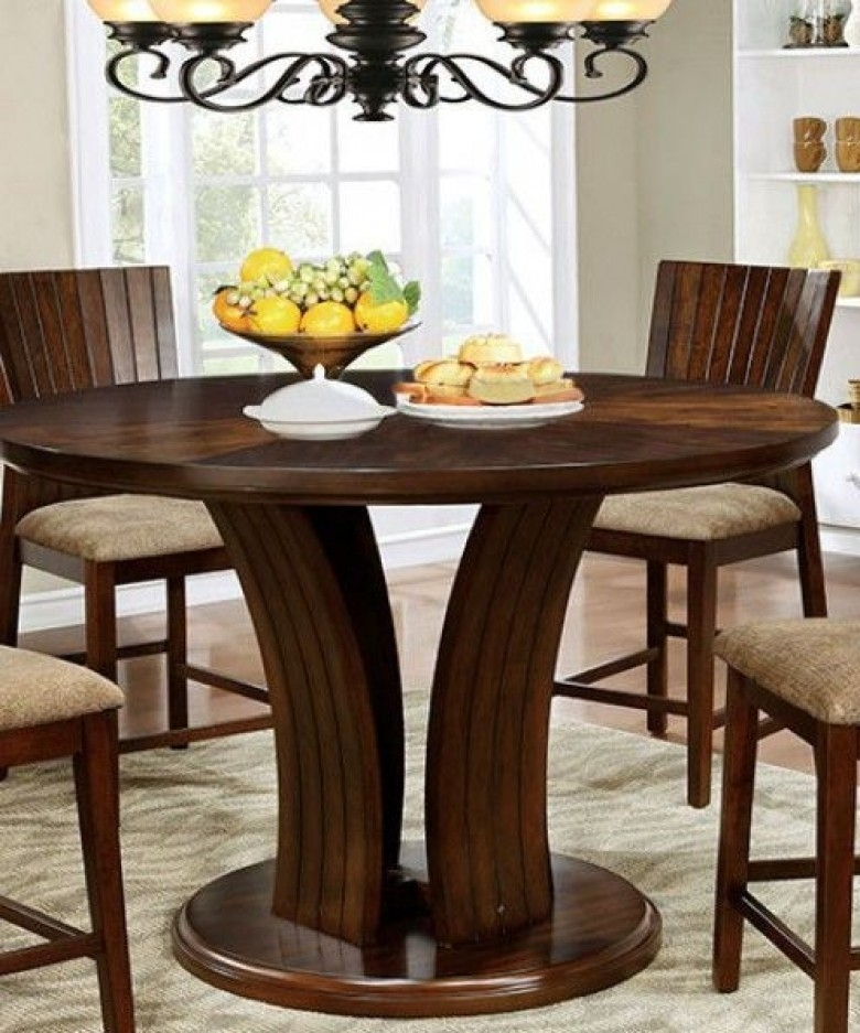 Furniture Of America Montreal Ii Dark Oak Counter Height Round Intended For Dark Round Dining Tables (Image 13 of 25)