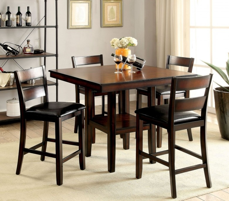 Furniture Of America Norah Ii Brown Cherry 5 Piece Counter Height Within Hyland 5 Piece Counter Sets With Bench (Image 15 of 25)