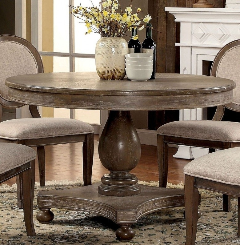 Furniture Of America Siobhan Rustic Dark Oak Round Dining Table With Dark Round Dining Tables (Image 14 of 25)