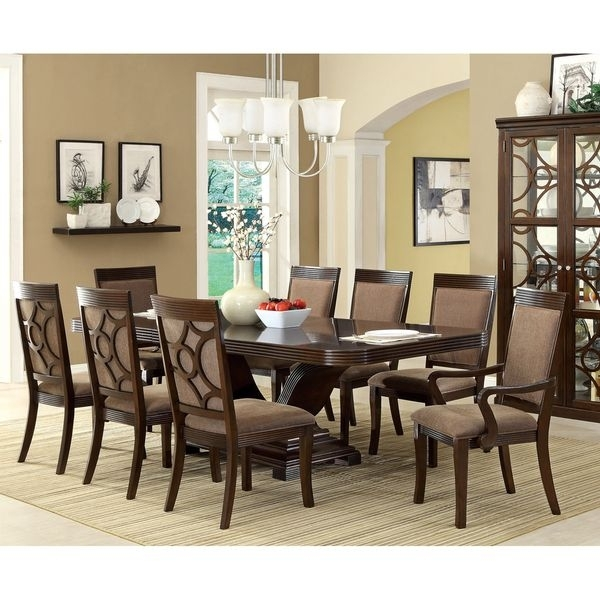 Furniture Of America Woodburly 9 Piece Dining Set With Leaf Pertaining To Candice Ii 7 Piece Extension Rectangular Dining Sets With Slat Back Side Chairs (Image 15 of 25)