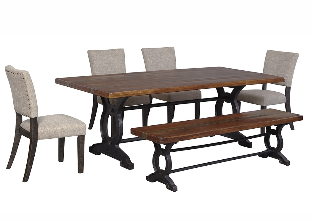 Furniture Three Rustic Wood Dining Benches In Budget Dining Chair Regarding Jaxon 6 Piece Rectangle Dining Sets With Bench & Uph Chairs (Image 11 of 25)