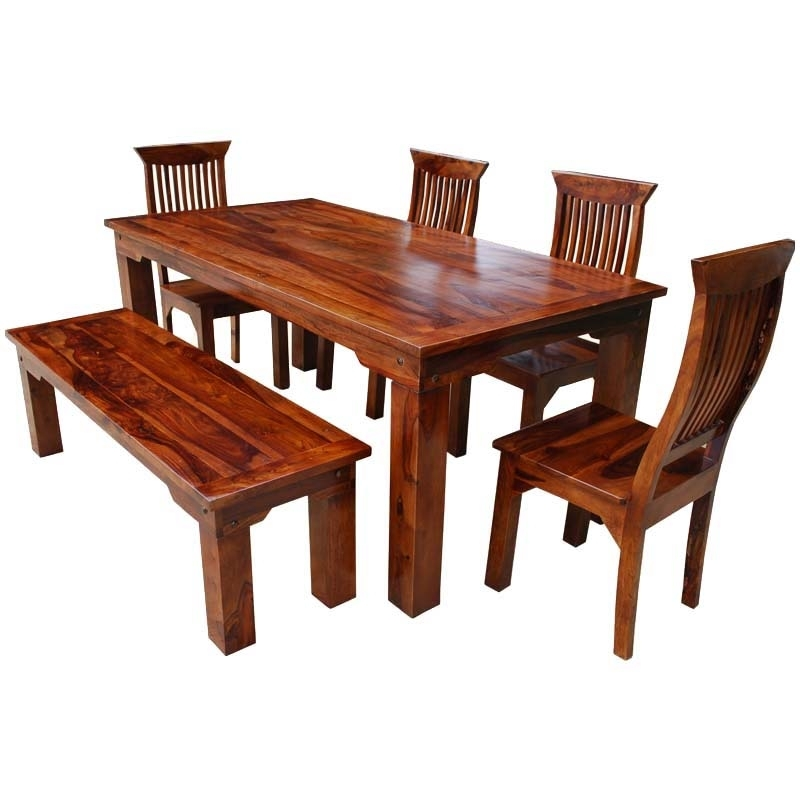 Furniture Three Rustic Wood Dining Benches In Budget Dining Chair With Jaxon 6 Piece Rectangle Dining Sets With Bench & Uph Chairs (Image 12 of 25)