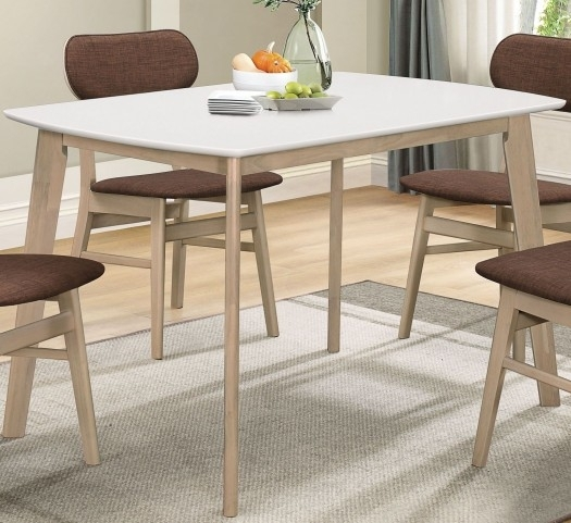 Furnitureetc | Furniture & More Rosetta Ii White Leg Dining Table With Regard To Carly Rectangle Dining Tables (Image 16 of 25)