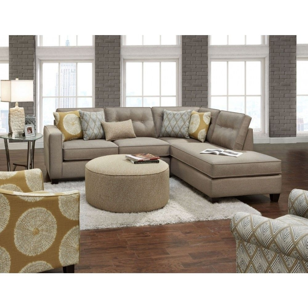 Fusion Furniture The 3515 16 Maxwell Taupe Sectional | Space Saving In Marcus Chocolate 6 Piece Sectionals With Power Headrest And Usb (Image 8 of 25)