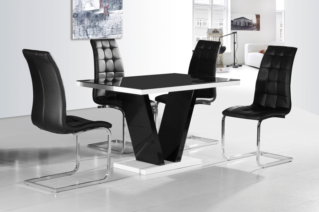 Ga Vico Blg White Black Gloss & Gloss Designer 120 Cm Dining Set & 4 in Round Black Glass Dining Tables and 4 Chairs