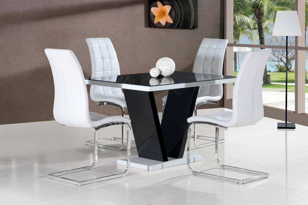 Ga Vico High Gloss Grey Glass Top Designer 120 Cm Dining Set & 4 pertaining to White Gloss and Glass Dining Tables
