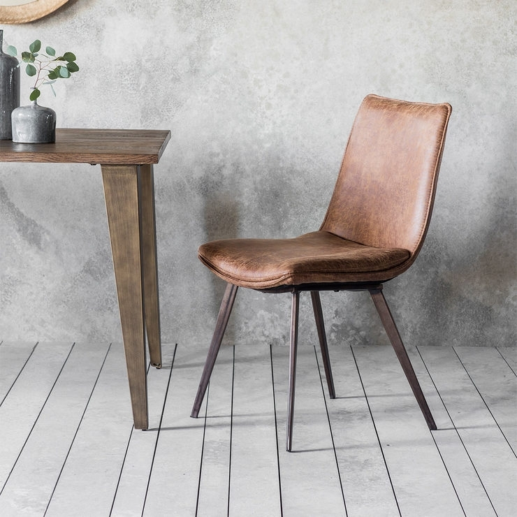 Gallery Hinks Brown Faux Leather Dining Chair, 2 Pack | Costco Uk With Regard To Brown Leather Dining Chairs (Image 14 of 25)