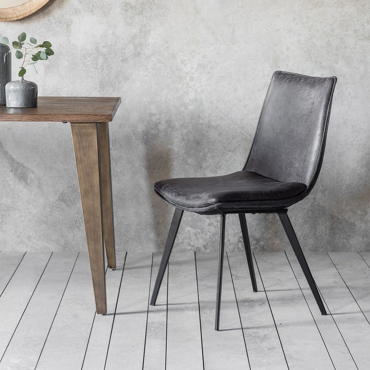 Gallery Hinks Grey Faux Leather Dining Chair, 2 Pack | Costco Uk with regard to Grey Leather Dining Chairs