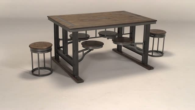 Galvin Cafeteria Table | World Market In Dining Tables With Attached Stools (View 2 of 25)