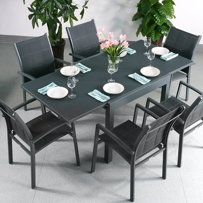 Garden Table Set Chloe Grey – 6 Person Aluminium & Glass Extending Within Extending Outdoor Dining Tables (Image 9 of 25)