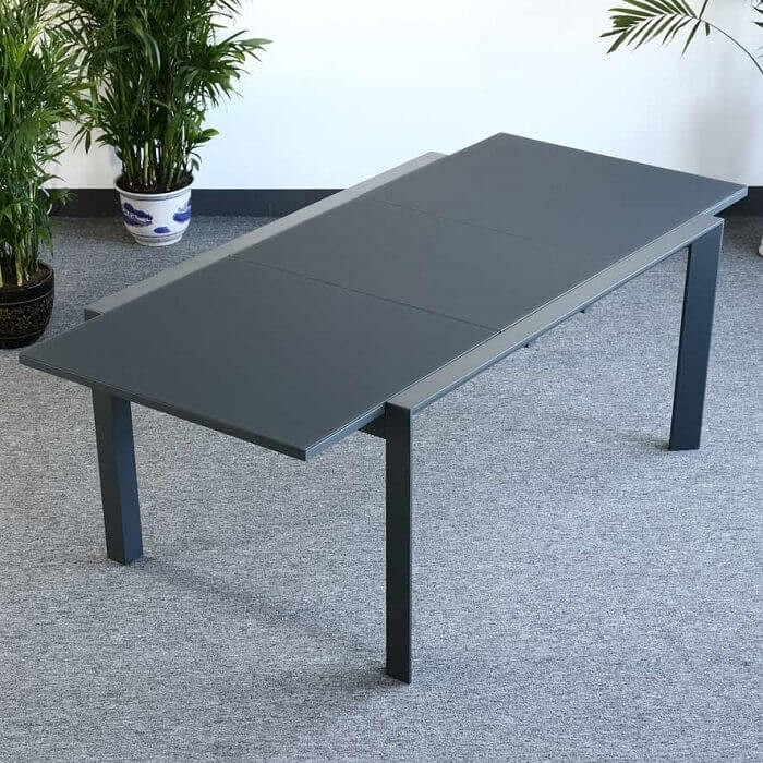 Garden Table Set Janine Grey – 6 Person Aluminium & Glass Extending For Extending Outdoor Dining Tables (View 15 of 25)