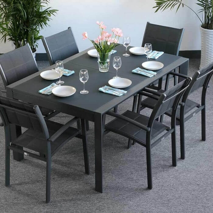 Garden Table Set Janine Grey – 6 Person Aluminium & Glass Extending Throughout 6 Seater Glass Dining Table Sets (View 20 of 25)