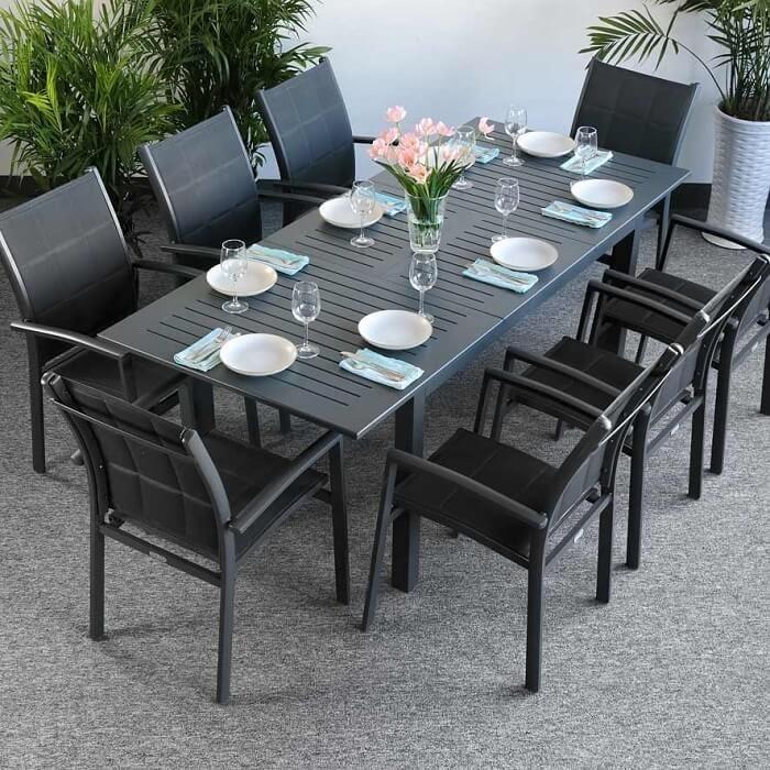 Garden Table Set Virginia Grey – 8 Person Aluminium Extending Patio With Regard To Garden Dining Tables (View 7 of 25)