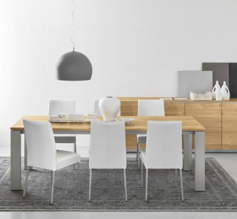 Gate Natural Oak Extendable Dining Table With Metal Legs – Style Our Within Brushed Metal Dining Tables (Image 8 of 25)