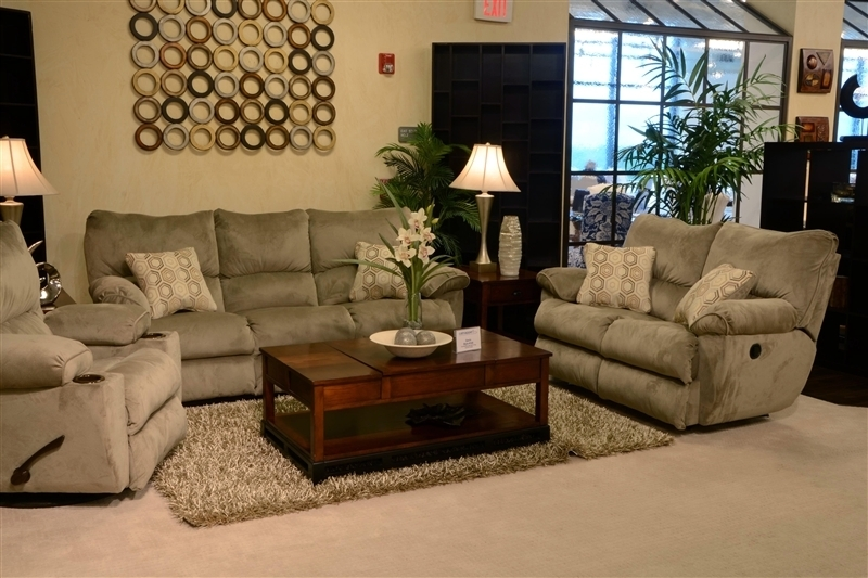 "Gavin 2 Piece Reclining Sofa Set In ""taupe"" Color Fabric Regarding Gavin 7 Piece Dining Sets With Clint Side Chairs (Photo 10 of 25)"