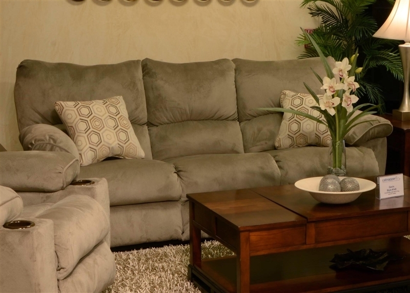 "Gavin Reclining Sofa With Drop Down Table In ""taupe"" Color Fabric within Gavin 7 Piece Dining Sets With Clint Side Chairs"