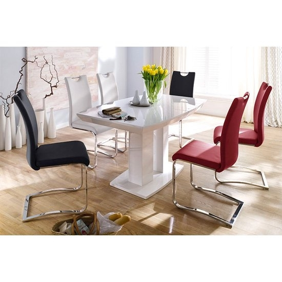 Genisimo High Gloss 4 Seater Dining Table With Koln Chairs Throughout White Gloss Dining Tables 140Cm (View 8 of 25)