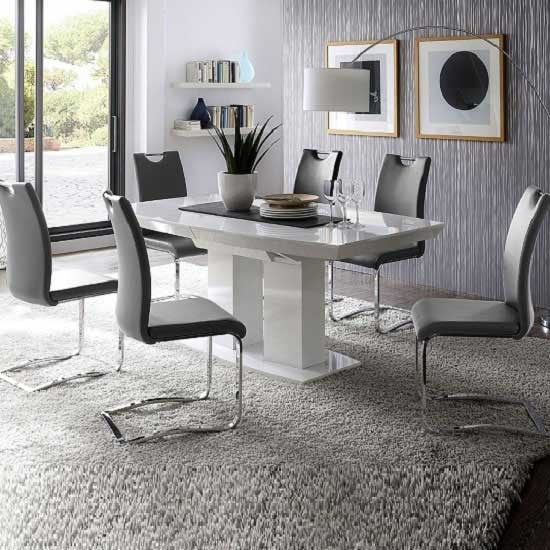 Genisimo High Gloss Dining Table With 6 Grey Koln Chairs Throughout White Gloss Dining Room Tables (Image 7 of 25)