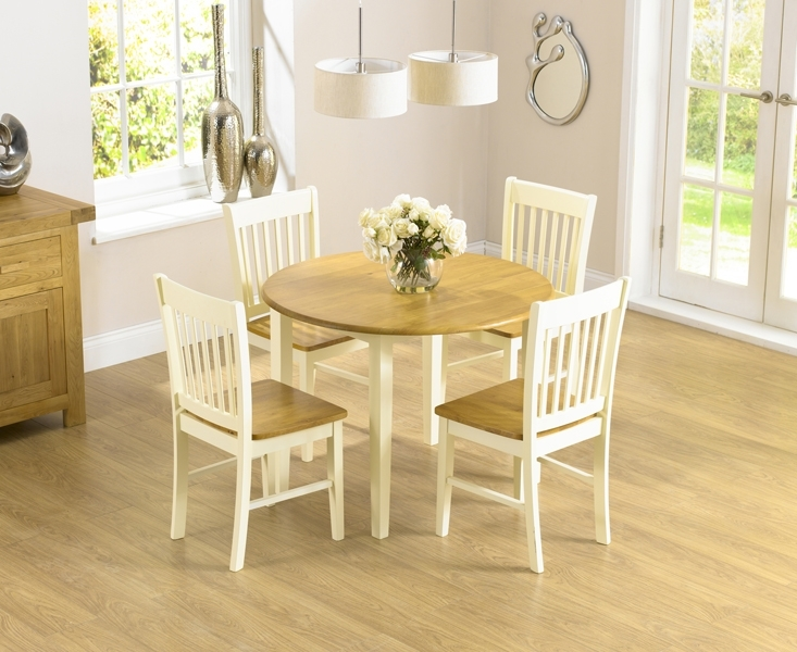 Genoa 100Cm Drop Leaf Extending Dining Table Set With Chairs Inside Cream And Wood Dining Tables (Image 12 of 25)