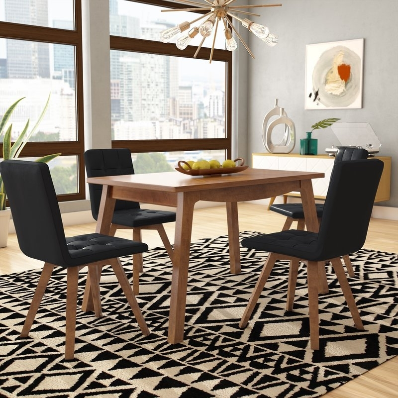 George Oliver Wyckhoff 5 Piece Dining Set & Reviews | Wayfair Throughout Laurent 7 Piece Rectangle Dining Sets With Wood And Host Chairs (Image 11 of 25)