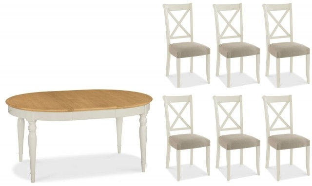 Georgie - Oval Extending Dining Table And 6 Chairs With Oak Top inside Oval Extending Dining Tables And Chairs