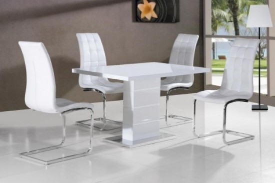 Giatalia Ice White Gloss Dining Table With 4 Enzo White Faux Leather in White Gloss Dining Sets