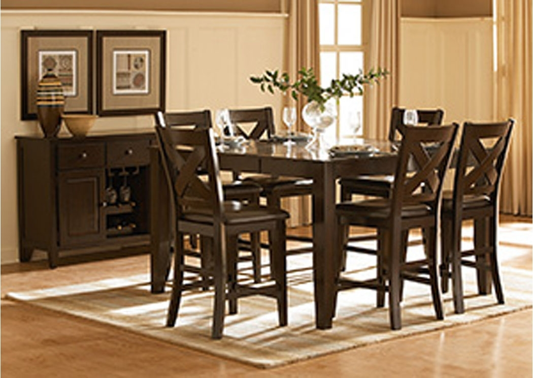 Gibson Mcdonald Furniture Crown Point Merlot Counter Height Dining With Regard To Jaxon 5 Piece Extension Round Dining Sets With Wood Chairs (View 16 of 25)