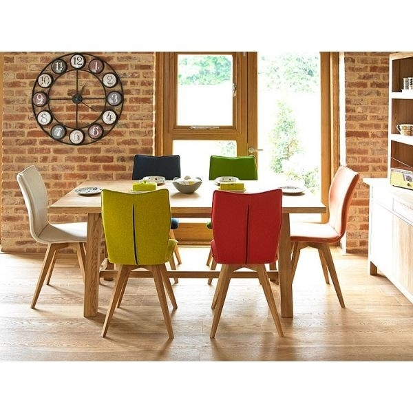 Gigi Oak Dining Table And Six Gigi Dining Chairs (Leather) | Holloways Regarding Oak Dining Chairs (Image 10 of 25)