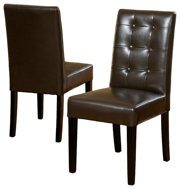 Gillian Leather Dining Chair, Set Of 2 – Transitional – Dining Throughout Brown Leather Dining Chairs (Image 15 of 25)
