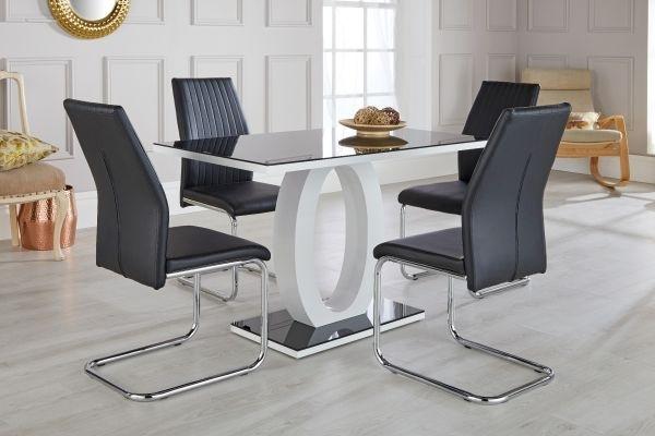 Giovani Black & White High Gloss Dining Table Set - Free Delivery in High Gloss Dining Tables Sets