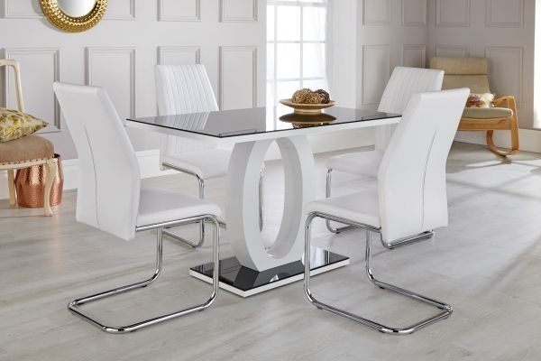 Giovani Black & White High Gloss Dining Table Set – Free Delivery With Regard To White Glass Dining Tables And Chairs (Photo 20 of 25)