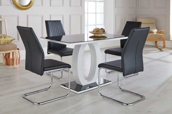 Giovani Black & White High Gloss Dining Table Set - Free Delivery within Black High Gloss Dining Tables