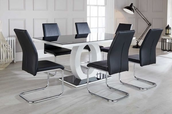 Giovani High Gloss Glass Dining Table Set | Furniturebox Within Black Gloss Dining Tables And 6 Chairs (Image 9 of 25)