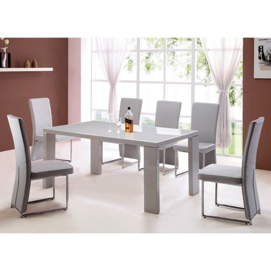 Giovanni High Gloss Grey Dining Table And 4 Light Grey Chairs | Home With Regard To Dining Tables Grey Chairs (Image 7 of 25)