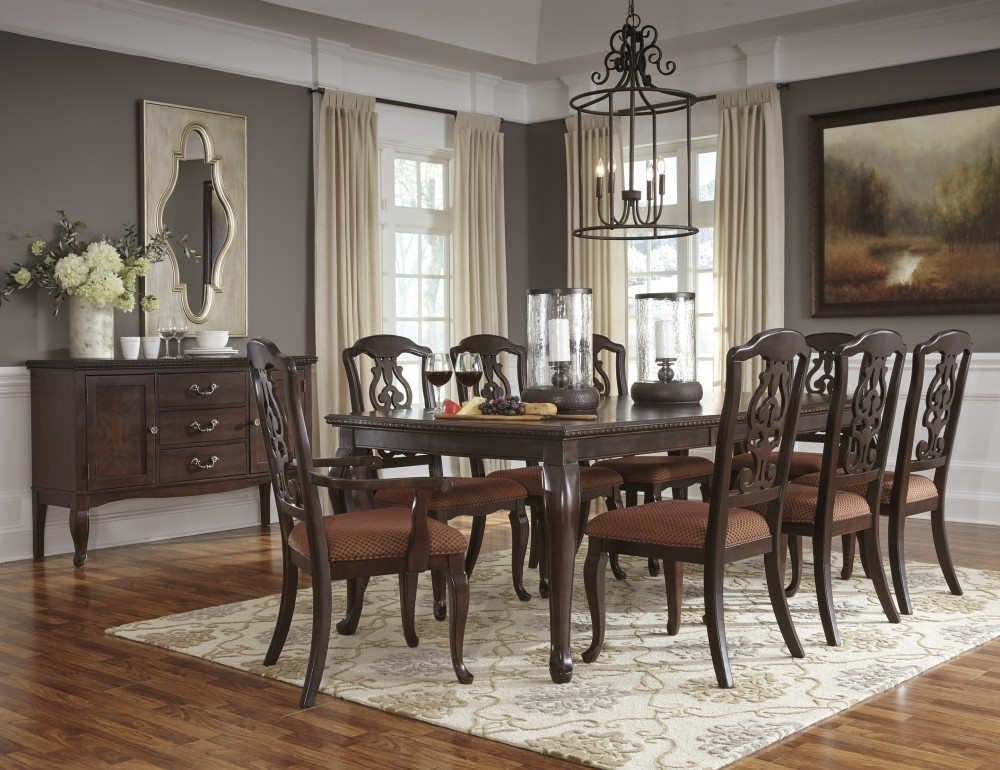 Gladdenville – Rect Dining Room Ext Table, 6 Uph Side Chairs & 2 Uph In Market 6 Piece Dining Sets With Side Chairs (Image 14 of 25)