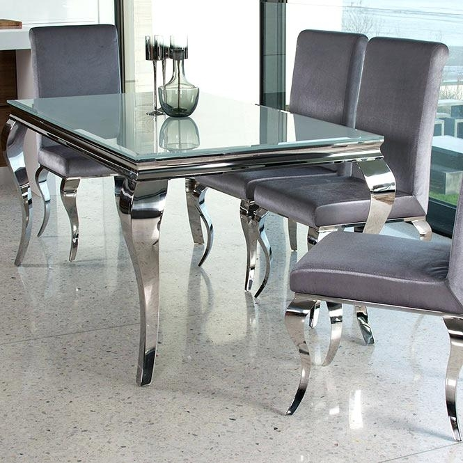Glass And Chrome Dining Table Small Glass Chrome Dining Room Table With Chrome Dining Sets (View 3 of 25)