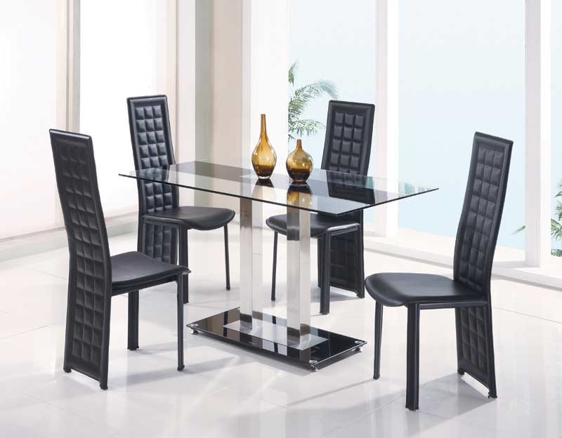 Glass And Metal Constructed Dining Table Set Gl 108 | Tables & Chairs Throughout Glass Dining Tables And Chairs (View 16 of 25)