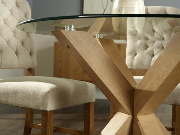 Glass And Oak Dining Table – Bienmaigrir With Round Glass And Oak Dining Tables (Image 13 of 25)