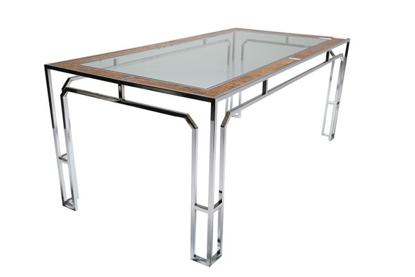 Glass & Chrome Dining Table, 1970S For Sale At Pamono Inside Chrome Dining Sets (View 25 of 25)