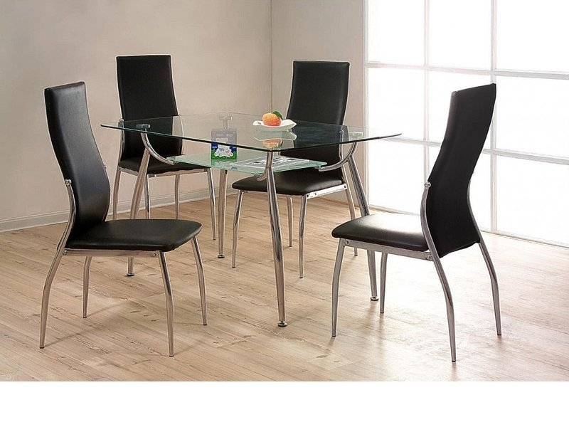 Glass / Chrome Dining Table And 4 Chairs – Homegenies For Chrome Dining Tables And Chairs (Image 11 of 25)