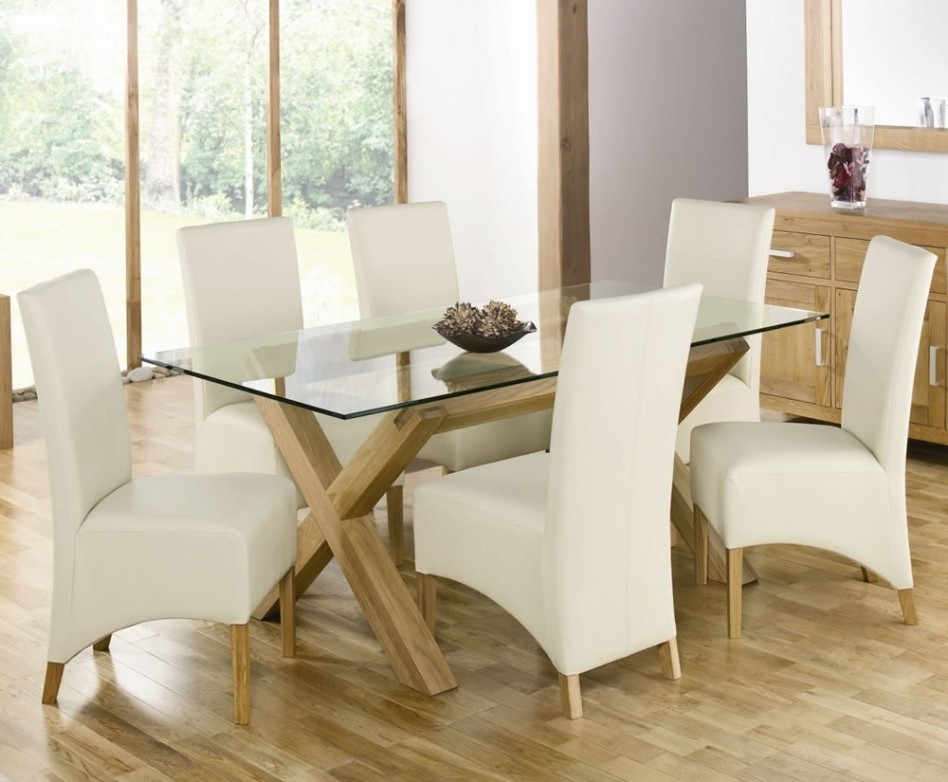 Glass Dining Room Sets Plans Jet Small Table Rectangular In White Inside Round Glass Dining Tables With Oak Legs (Image 10 of 25)