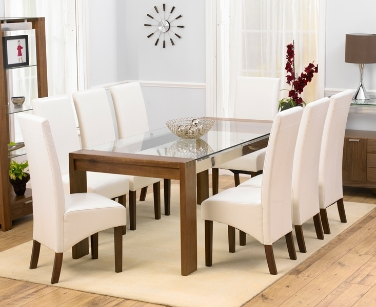 Glass Dining Room Table 8 Chairs Decor Ideas And Seat 10 Upholstery Within Glass Dining Tables And Chairs (Image 14 of 25)
